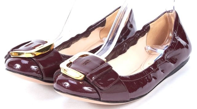 PRADA Burgundy Burgundy Red Patent Leather Ballet Flats