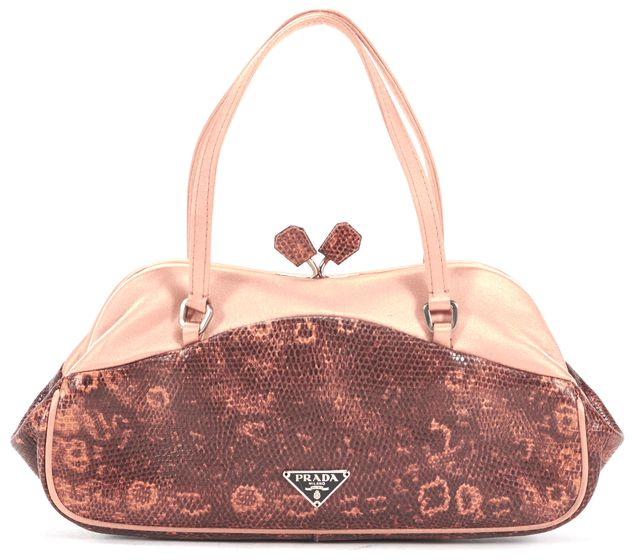 PRADA Pink Satin Snakeskin Embossed Leather Kiss Lock Shoulder Bag