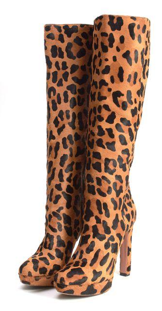 PRADA Brown Leopard Print Calf Hair Heeled Knee-High Tall Boots