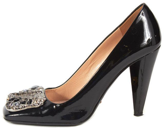 PRADA Black Patent Leather Crystal Stone Plaque Square-Toe Heels