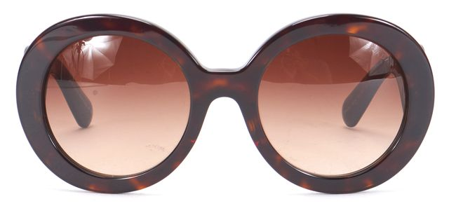 PRADA Brown Tortoiseshell Gradient Lens Baroque Round Sunglasses w/ Case