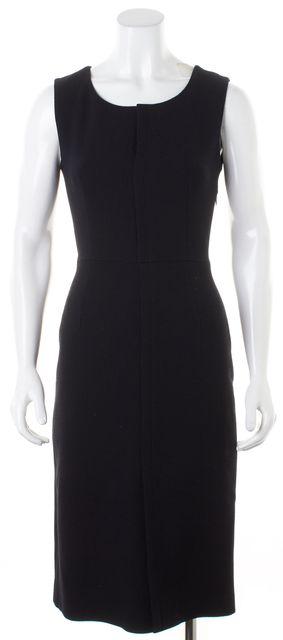 PRADA Black Wool Sleeveless Knee-Length Sheath Dress