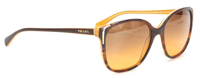 PRADA Brown Tortoise Shell Rectangular Sunglasses