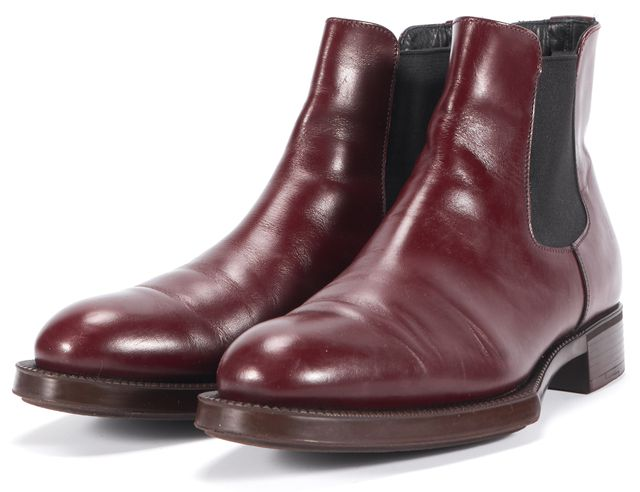 PRADA Red Burgundy Leather Elastic Ankle Chelsea Boots