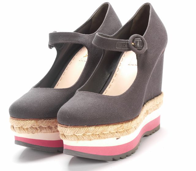 PRADA Gray Canvas Platforms Wedge Shoes