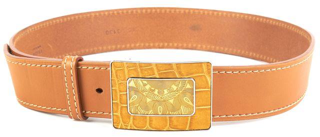 PRADA Beige Leather Abstract Snake Print Buckle Belt