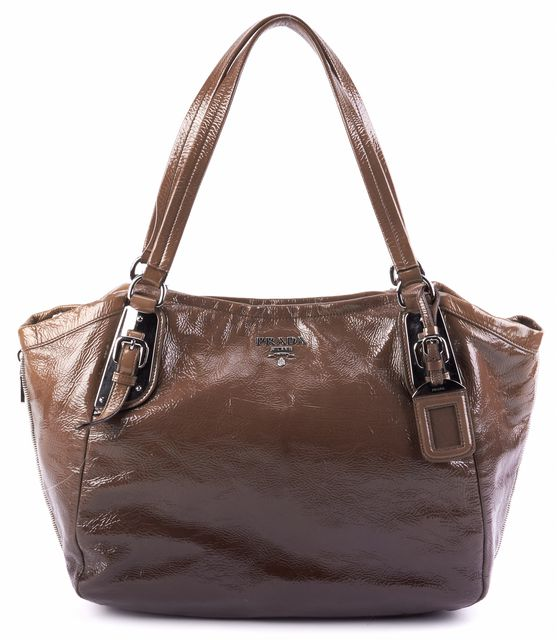 PRADA Green Gradient Patent Leather Shoulder Bag Handbag