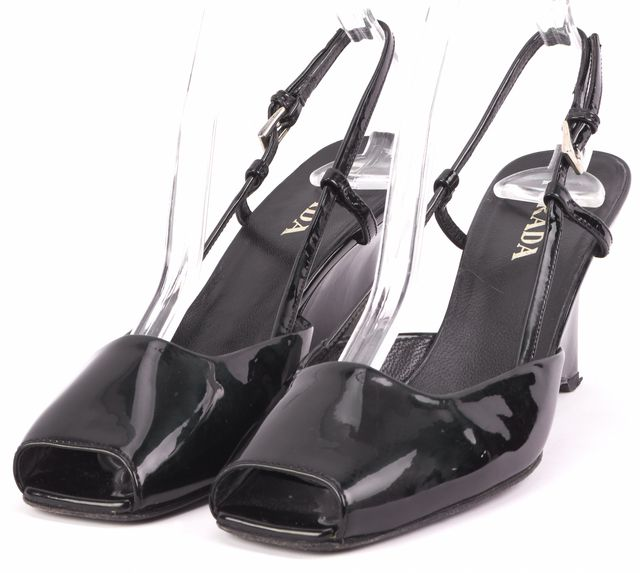 PRADA Black Leather Slingback Sandal Heels