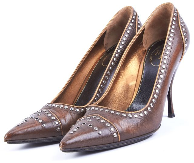 PRADA Brown Embellished Leather Pointed Toe Heels