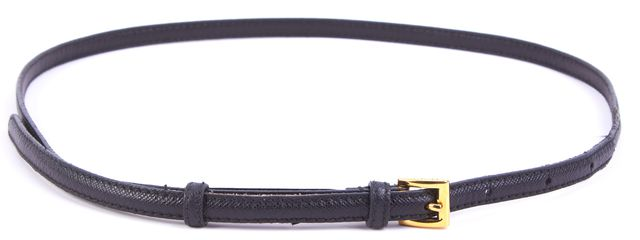 PRADA Black Leather Skinny Belt