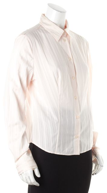 PRADA Blush Pink Striped Sheer Button Down Shirt Blouse Size US 12 IT 48