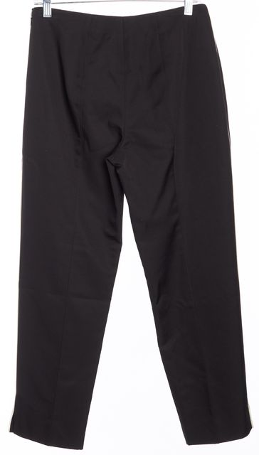 PRADA Black white Pipe Trim High Rise Wool Pull On Capris Pants