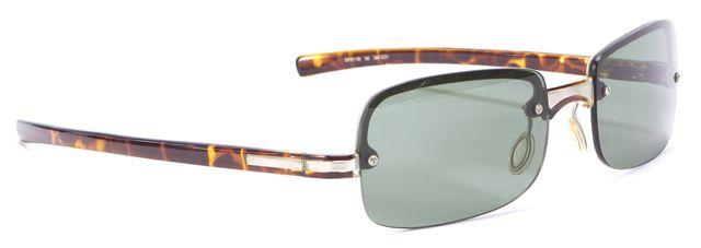 PRADA Brown Small Green Lens Rimless Sunglasses