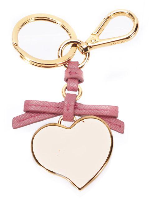 PRADA Pink Saffiano Leather Heart Shape Gold-Tone Hardware Key Chain & Bag Charm