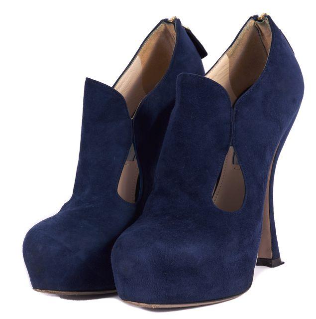 PRADA Admiral Blue Suede Cut-Out Shoetties Heels
