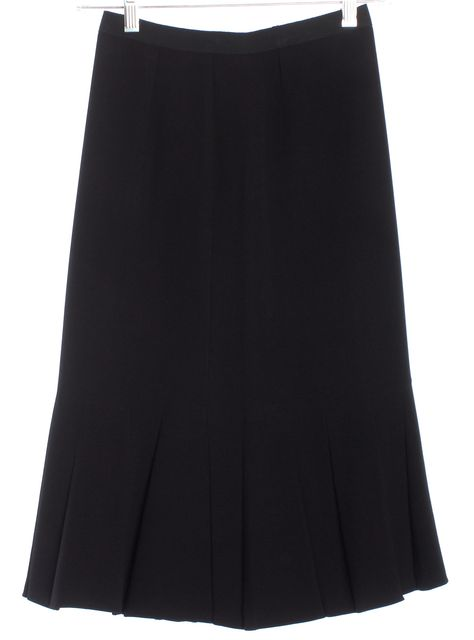 PRADA Black Grosgrain Waist Band Trumpet Skirt