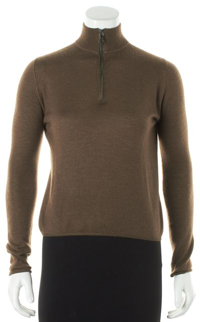 PRADA Brown Long Sleeve Zip Front Pull On Turtle Neck Sweater