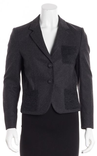 PRADA Charcoal Gray Felted Wool Knit Mohair Pockets Two-Button Blazer