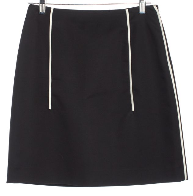 PRADA Black White Striped Detail A-Line Skirt