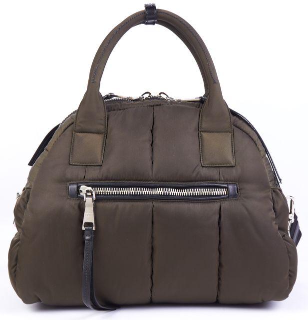 PRADA SEAWEED Green Silver Tone Branded Hardware Quilted Puffer Bomber Handbag