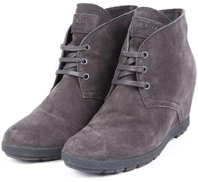 PRADA Olive Green Suede Lace Up Platforms & Wedges Platform Shoes