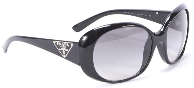 PRADA Black Acetate Round Sunglasses
