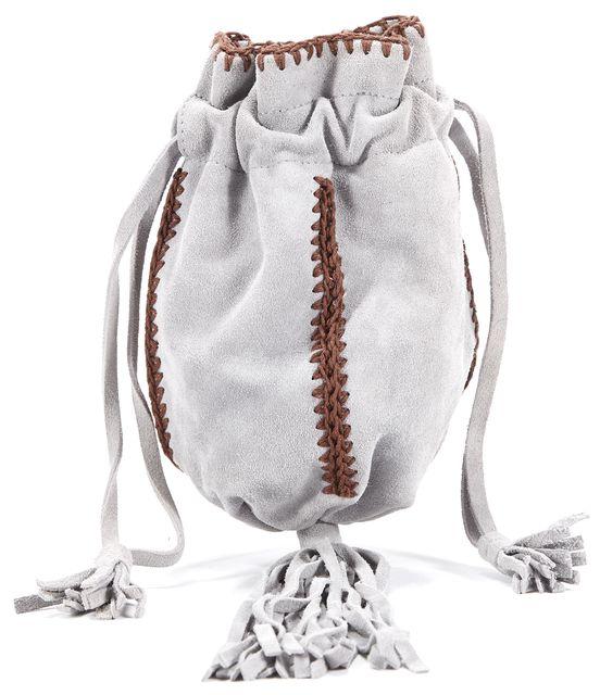 PRADA Gray Brown Suede Braided Fringe Detail Clutch Wristlet Handbag