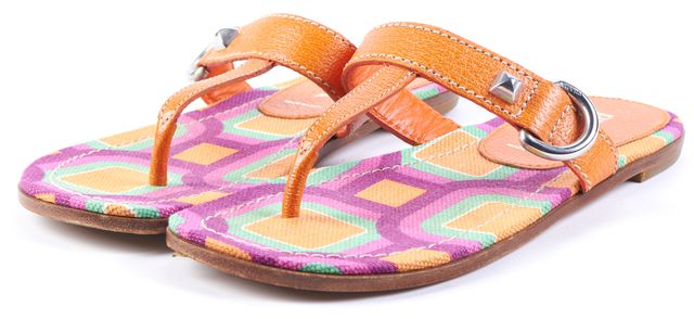 PRADA Orange Geometric Leather Sandal Flip Flops Size 35.5 US 5.5
