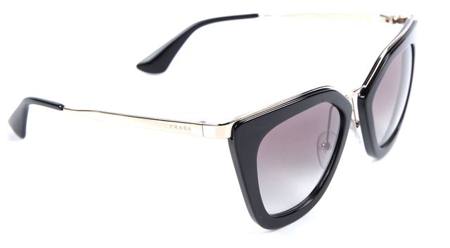 PRADA Black & Gold Cat Eye Sunglasses w/ Box, Case & Cleaning Cloth