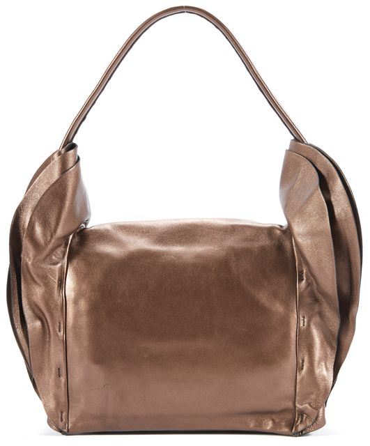PRADA Bronze Leather Nappa Ruffle Top Handle Bags