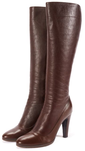 PRADA Brown Round Toe Leather Knee-high Boots Size US 7 IT 37.5