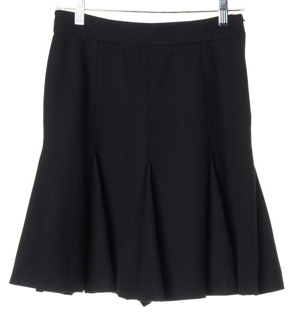 PRADA Black Structured Pleated Invisible Zip Close A-Line Skirt
