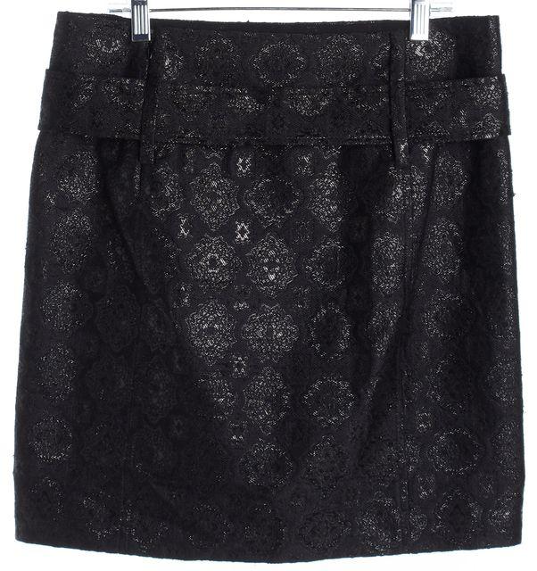 PRADA Black Abstract Silk Blend Metallic Belted A-Line Skirt