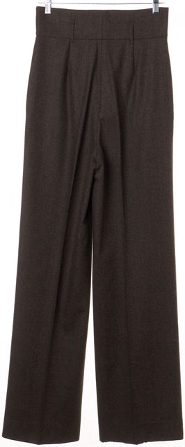 PRADA Brown Pleated Front High Waisted Wool Dress Pants