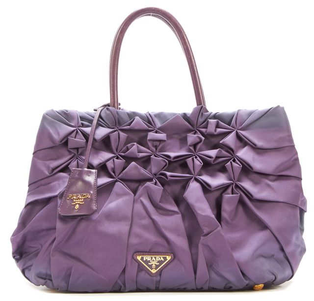 PRADA Mirtillo Lavender Leather Trim Tessuto B Viola Top Handle Bags