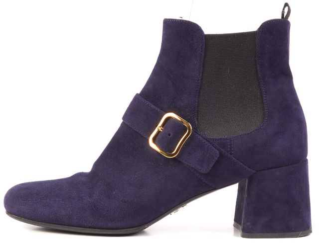 PRADA Blue Suede Gold Buckle Ankle Boots