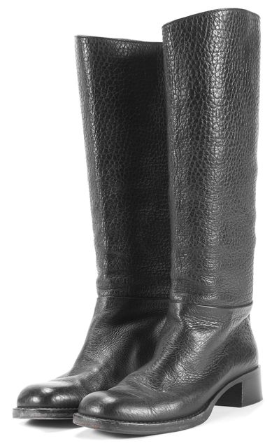 PRADA Black Grainy Leather Mid-Calf Boots Size US 8 IT 38.5