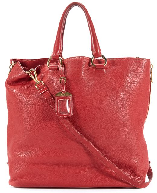 PRADA Red Leather Vitello Daino Expandable Shopper Tote Satchel Bag