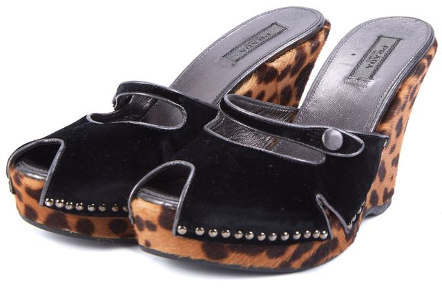 PRADA Black Brown Animal Print Calf Hair Velvet Detailed Wedges Heels