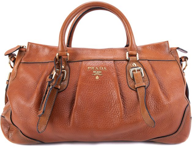 PRADA Brown-Tan Leather Shoulder Bag Tote
