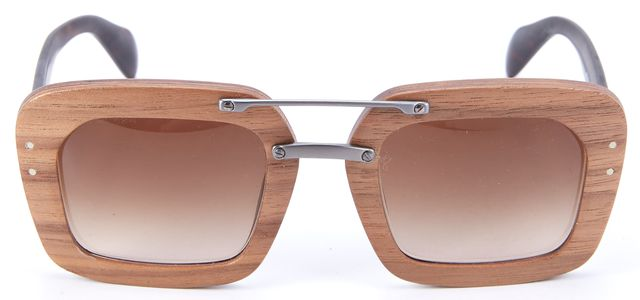 PRADA Brown Wooden Rectangular Sunglasses