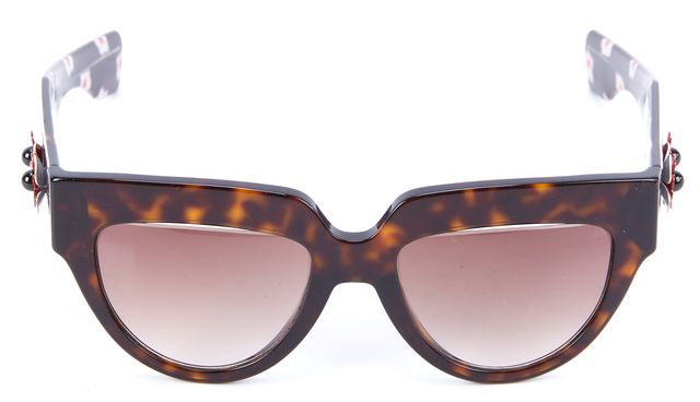 PRADA Brown Embellished Flowers Round Sunglasses