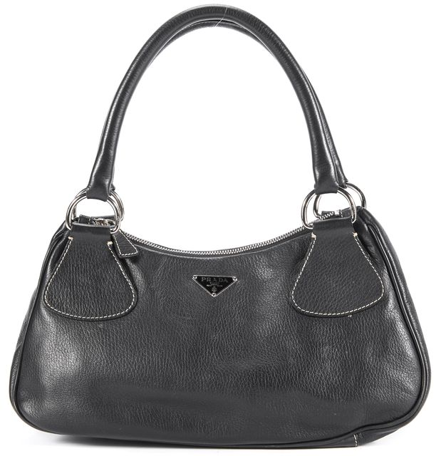 PRADA Black Leather Shoulder Bag Handbag
