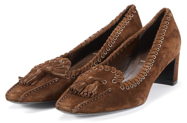PRADA Brown Suede Pointed Toe Loafers