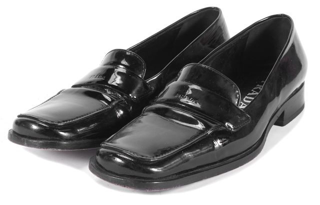 PRADA Black Patent Leather Loafer Flats Size US 6.5 IT 36.5