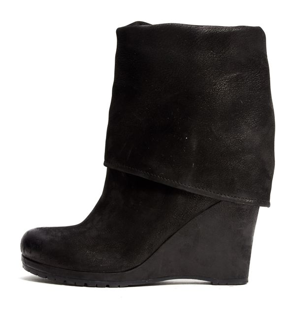 PRADA SPORT Black Brushed Suede Fold over Boots