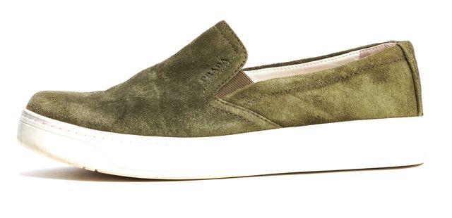 PRADA SPORT Olive Green Suede Slip-on Sneakers