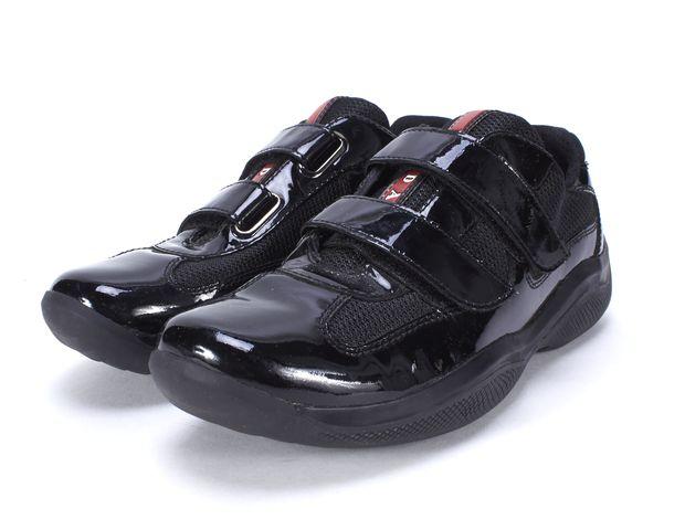 PRADA SPORT Black Patent Leather Mesh Sneakers Size 37.5