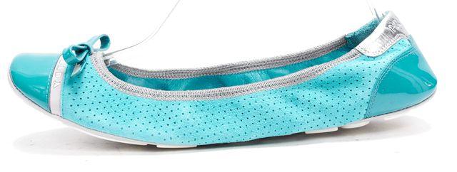 PRADA SPORT Blue Suede Patent Cap Toe Ballet Flats