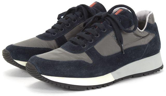 PRADA SPORT Navy Suede Nylon Sneakers